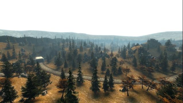 Карта осеннего леса с большими камнями и раллийной трассой