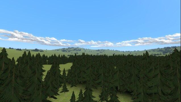 Gm_flatforest лес с полянками и смотровой вышкой